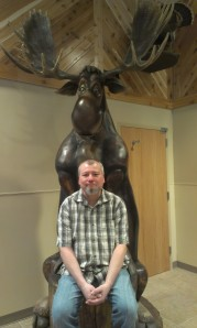 Dwarfed by a moose!